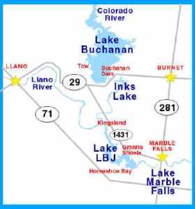 lake buchanan lakes map